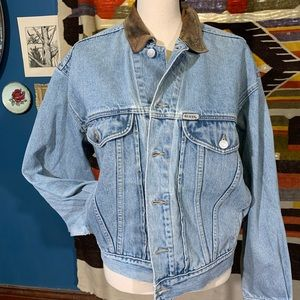 Vintage Guess Jean Jacket W Leather Collar